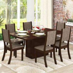 Conjunto Mesa Dani E 6 Cadeiras Choco E Canela
